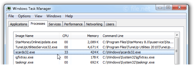 Windows Task Manager with scards32