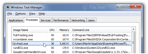 Windows Task Manager with scvhost