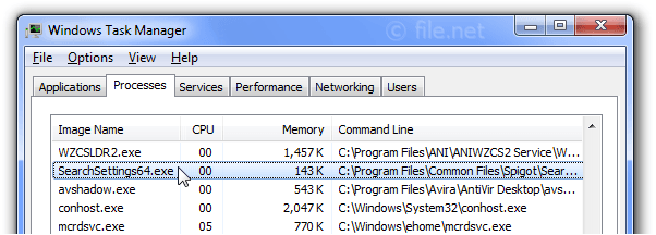 Windows Task Manager with SearchSettings64
