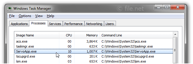 Windows Task Manager with ServoApp