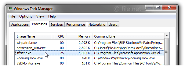 Windows Task Manager with sftlist