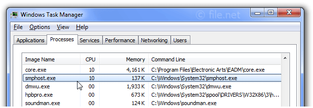 Windows Task Manager with smphost
