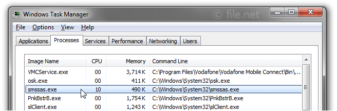 Windows Task Manager with smssas