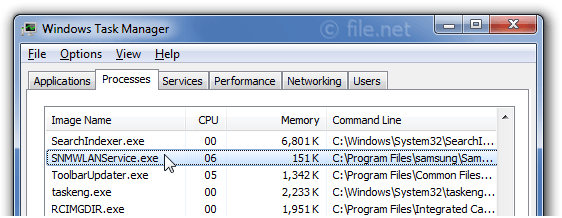 Windows Task Manager with SNMWLANService