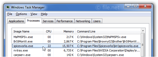 Windows Task Manager with spiceworks