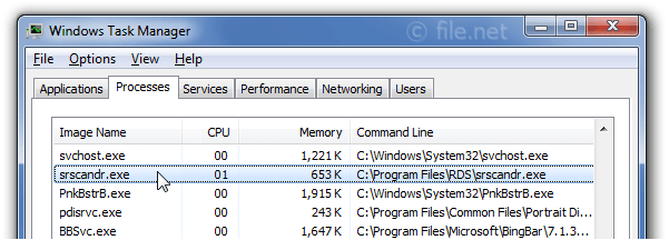 Windows Task Manager with srscandr