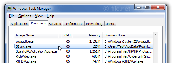 Windows Task Manager with SSync