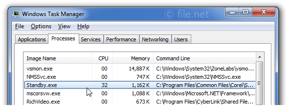 Windows Task Manager with Standby
