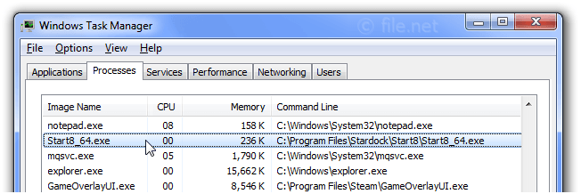 Windows Task Manager with Start8_64