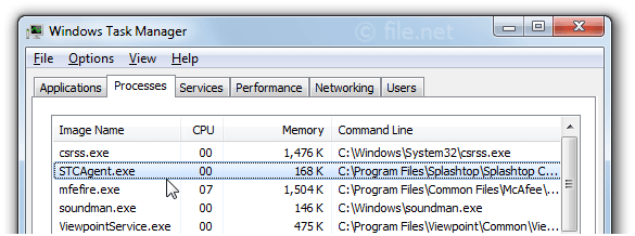 Windows Task Manager with STCAgent