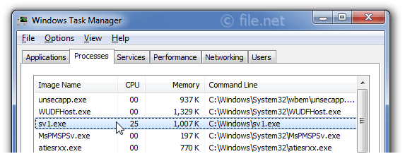 Windows Task Manager with sv1