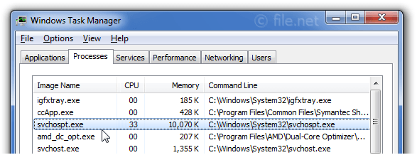 Windows Task Manager with svchospt