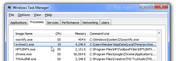 Windows Task Manager with svchost1