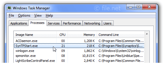Windows Task Manager with SynTPStart