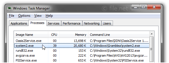 Windows Task Manager with system2