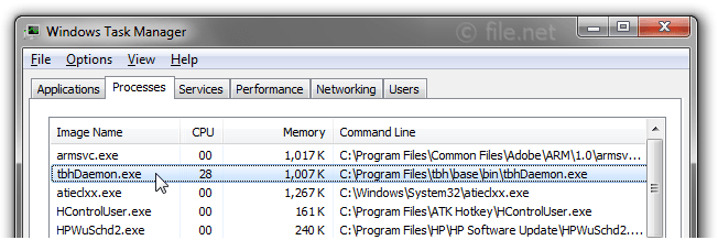 Windows Task Manager with tbhDaemon