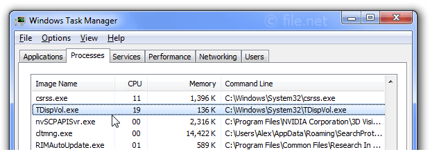Windows Task Manager with TDispVol