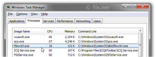 Windows Task Manager with tfswctrl