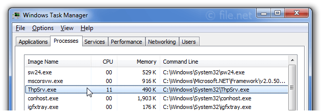 Windows Task Manager with ThpSrv