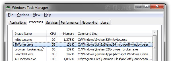 Windows Task Manager with TiWorker