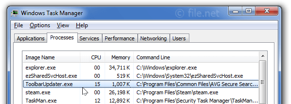 Windows Task Manager with ToolbarUpdater