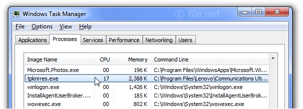 Windows Task Manager with tpknrres