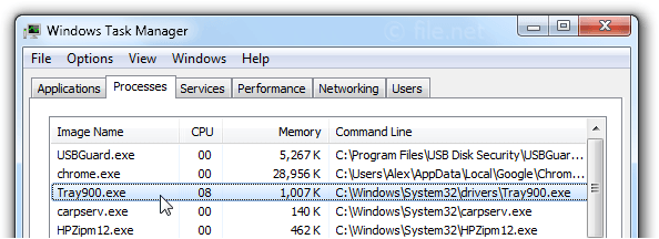 Windows Task Manager with Tray900