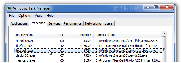 Windows Task Manager with trcboot