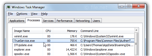 Windows Task Manager with TrueService