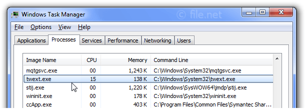 Windows Task Manager with twext