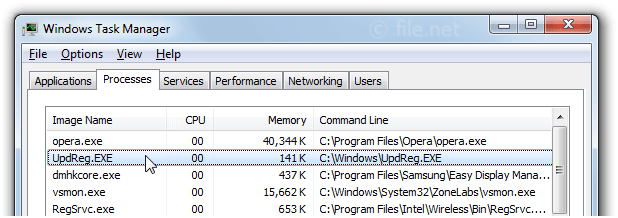 Windows Task Manager with UpdReg