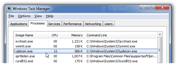 Windows Task Manager with usbicon