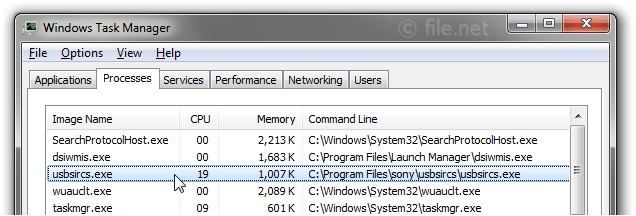 Windows Task Manager with usbsircs