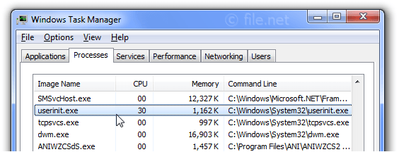Windows Task Manager with userinit