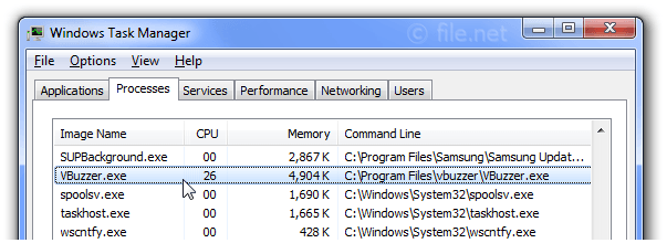 Windows Task Manager with VBuzzer