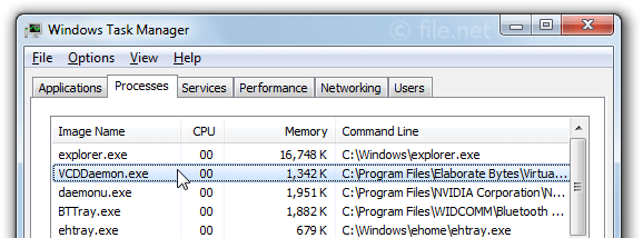 Windows Task Manager with VCDDaemon