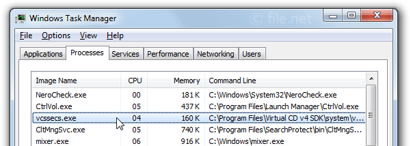 Windows Task Manager with vcssecs
