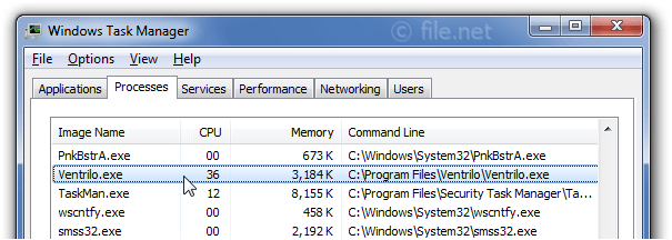 Windows Task Manager with Ventrilo