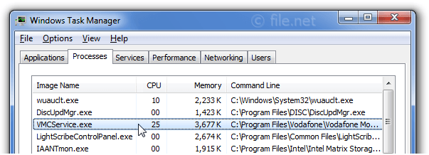 Windows Task Manager with VMCService