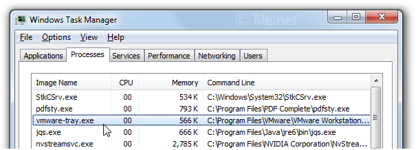Windows Task Manager with vmware-tray