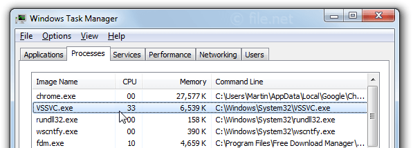 Windows Task Manager with VSSVC