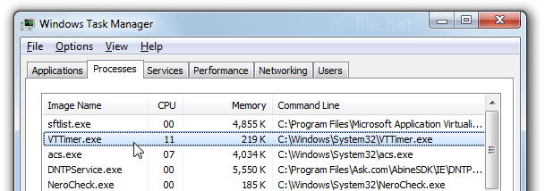 Windows Task Manager with VTTimer