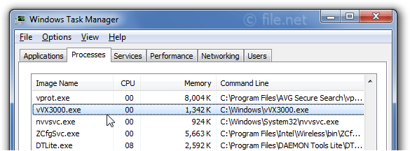 Windows Task Manager with vVX3000