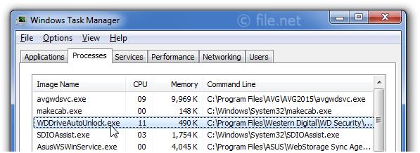 WDDriveAutoUnlock exe Windows process - What is it?