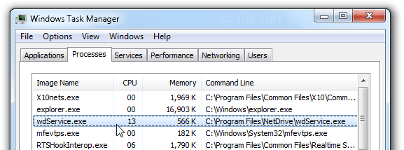Windows Task Manager with wdService
