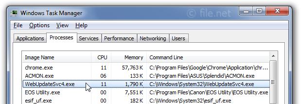 Windows Task Manager with WebUpdateSvc4
