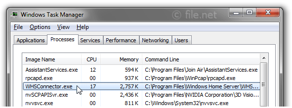 Windows Task Manager with WHSConnector