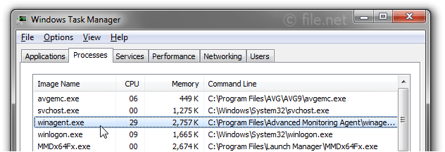 Windows Task Manager with winagent