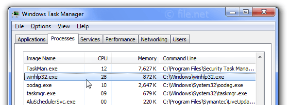 Windows Task Manager with winhlp32