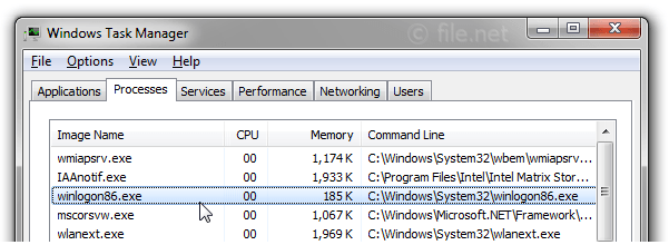 Windows Task Manager with winlogon86